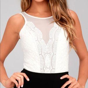 Lulus Cali Cantina White Lace Bodysuit